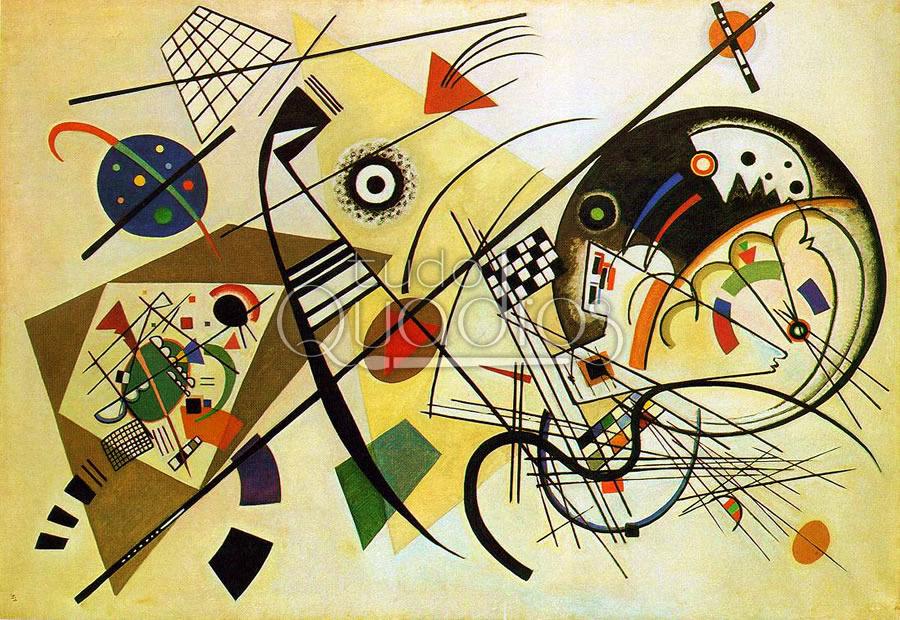 """Linha Transversal"""" de Kandinsky, quadro de museu, reprodução."""